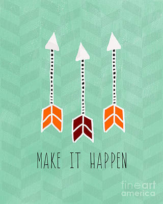 Chevron Mixed Media - Make It Happen by Linda Woods