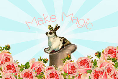 Digital Art - Make Magic Rabbit by Peggy Collins