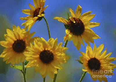 Digital Sunflower Painting - Makes Me Happy by WickedRefined Designs