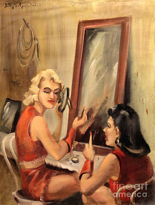 Painting - Makeup Time 1940 by Art By Tolpo Collection