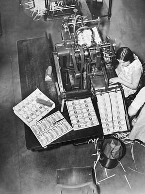 Washington D.c. Photograph - Making $100 Bills by Underwood Archives
