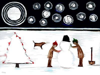 Making A Snowman At Christmas 2 Art Print by Patrick J Murphy