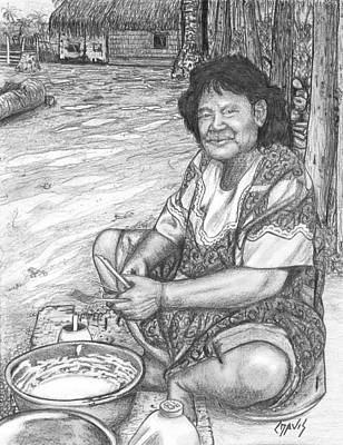 Drawing - Making Breakfast by Lew Davis