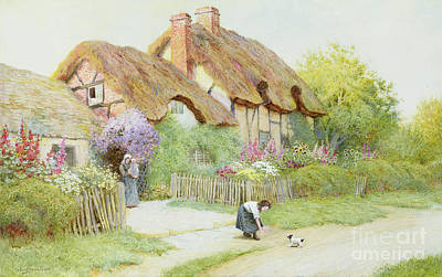 Charming Cottage Painting - Making Friends  by Arthur Claude Strachan