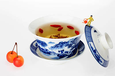 Painting - Making Longjing Tea Traditional Chinese Culture Miniature Art by Paul Ge
