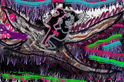 Crocodile Mixed Media - Making Love On Top Of Crocodile Funny Funky Image Accidental Art Observed While Playing With Graphic by Navin Joshi