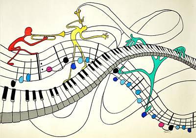 Drawing - Making Music by Glenn Calloway