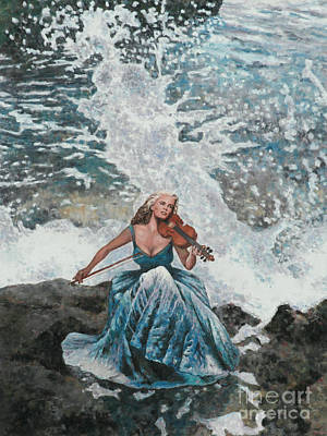 Larnaca Painting - Making Music Triptych Panel Two by Theo Michael