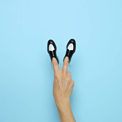 Photograph - Making Peace Sign With Miniature Shoes by Juj Winn