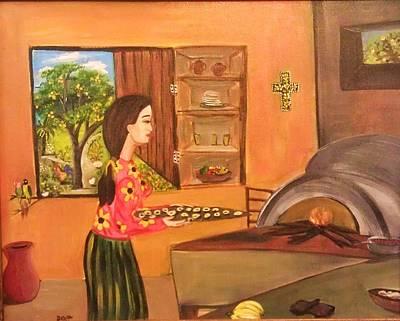 Nicaragua Painting - Making Rosquillas by Deyanira Harris