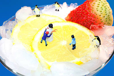 Photograph - Making Snowman On Icy Drink Little People On Food by Paul Ge
