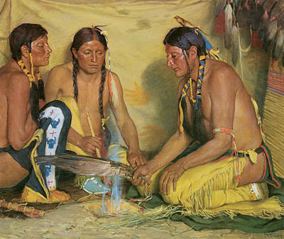 Making Sweet Grass Medicine Blackfoot Ceremony Art Print by Joseph Henry Sharp