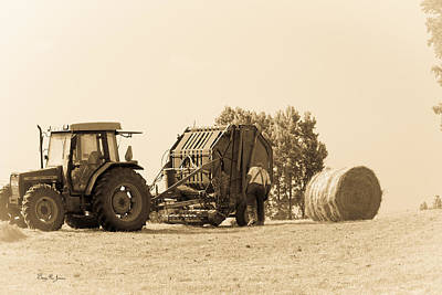 Photograph - Farm - Tractor - Hay - Making The Drop by Barry Jones
