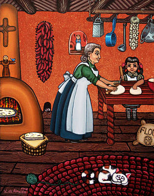 Country Kitchens Painting - Making Tortillas by Victoria De Almeida