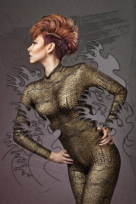 Female Body Digital Art - Making Waves by Samuel Whitton