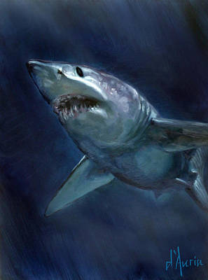 Shark Painting - Mako by Tom Dauria