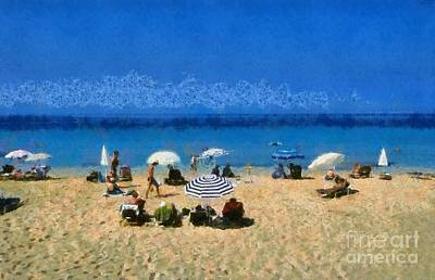 Painting - Makris Gialos Beach In Kefallonia Island by George Atsametakis