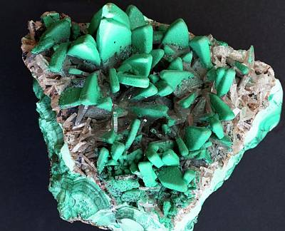 Crystalline Photograph - Malachite Covered Barite by Dirk Wiersma