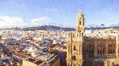 Incarnation Digital Art - Malaga City With Cathedral by Perry Van Munster