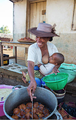 Malagasy Mother Selling A Streetfood Print by Diana Mrazikova/ Vwpics