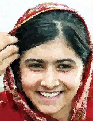Painting - Malala Yousafzai Portrait by Samuel Majcen