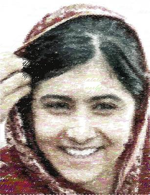 Painting - Malala Yousafzai - Typography by Samuel Majcen