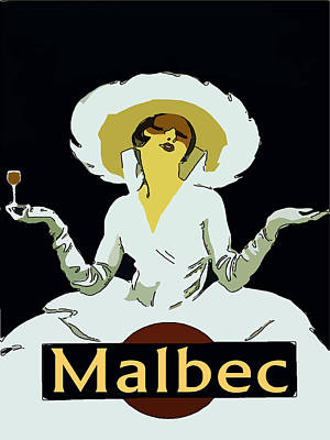 Malbec Vintage Wine Lady Art Print by Fig Street Studio