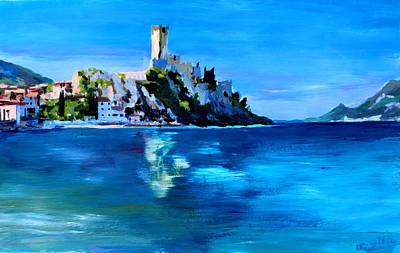 Home Wall Art Painting - Malcesine With Castello Scaligero by M Bleichner