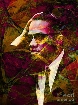 Wingsdomain Digital Art - Malcolm X 20140105 by Wingsdomain Art and Photography