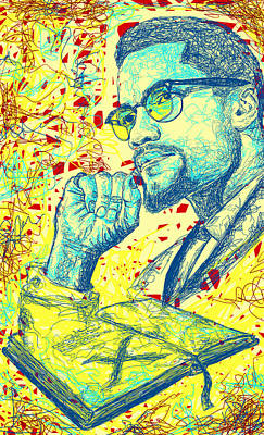 Digital Art - Malcolm X Drawing In Lines by Kenal Louis