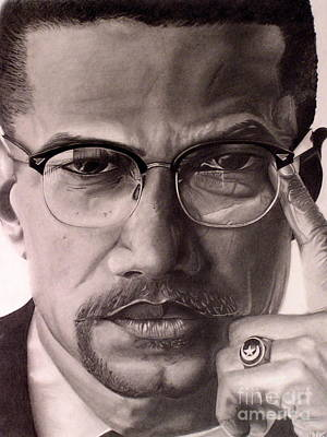 Civil Rights Drawing - Malcolm X by Wil Golden