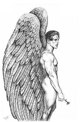 Male Angel With Rose Art Print by Dawn Rosendahl
