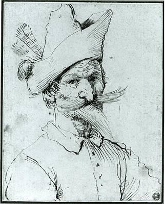 Male Caricature Art Print by Follower of Guercino
