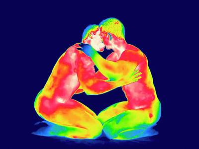 Male Couple Kissing Art Print