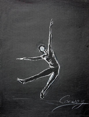 Drawing - Male Dancer In White Lines On Black by Tom Conway