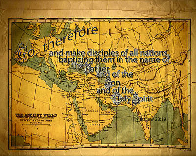 World Map Poster Photograph - Make Disciples by Larry Bishop