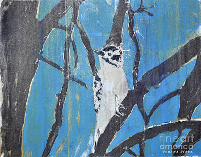 Printmaking Mixed Media - Male Downy Woodpecker Monoprint by Verana Stark