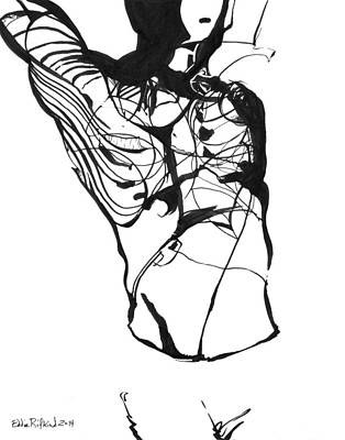 Drawing - Male Figure Abstraction by Eddie Rifkind