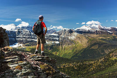 Male Hiker Standing On Top Of Mountain Art Print
