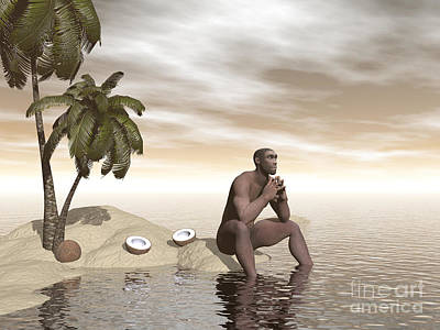 Muscular Digital Art - Male Homo Erectus Sitting Alone by Elena Duvernay