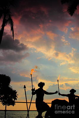 Photograph - Male Hula Dancers At Sunset 2 by Theresa Ramos-DuVon
