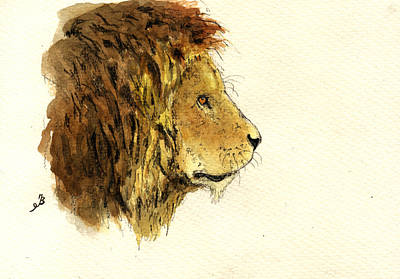 Study Painting - Male Lion Head by Juan  Bosco