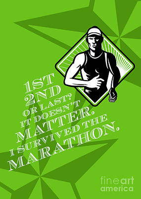 Jogging Digital Art - Male Marathon Runner Retro Poster by Aloysius Patrimonio