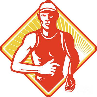 Male Marathon Runner Running Retro Woodcut Art Print