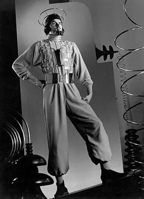 Male Model Wearing Futuristic Gray Jumpsuit Art Print by Anton Bruehl