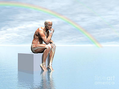 Muscular Digital Art - Male Musculature Sitting On A Cube by Elena Duvernay