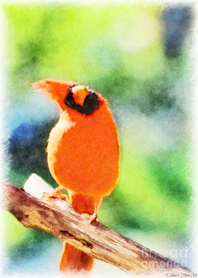 Photograph - Male Northern Cardinal With Leaf In Beak 2 - Digital Paint II by Debbie Portwood