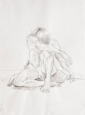 Male Nude Drawing Drawing - Male Nude On Pillow by Andy Gordon