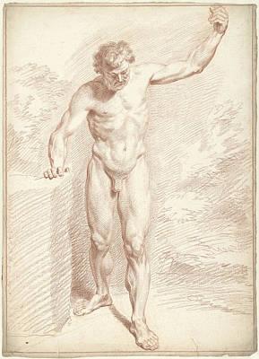 Male Nude, Standing, Left Arm Raised, Louis Fabritius Art Print
