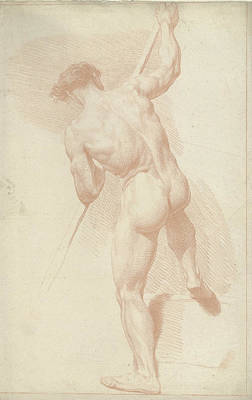 Male Nude, Standing, Seen From The Back, Louis Fabritius Art Print
